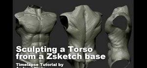 Sculpt a torso in Zbrush from a Zsketch base