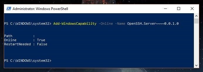 How to Create a Native SSH Server on Your Windows 10 System « Null