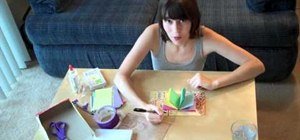 Make a simple homemade journal from index cards, dental floss and a cereal box