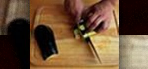 Cut an eggplant into planks, slices, and rods for cooking