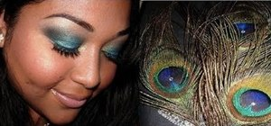 Create a teal blue peacock inspired eye makeup look