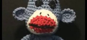 Left hand crochet a sock monkey