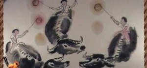 Draw three Chinese oxen - Chinese brush painting