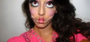 Create a super creepy patchwork doll makeup look for Halloween