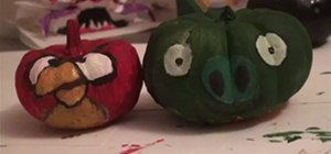 Paint Mini Pumpkins as Angry Birds Decorations