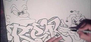 Draw, shade, and outline graffiti art