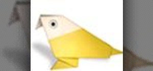 Origami a yellow bird Japanese style
