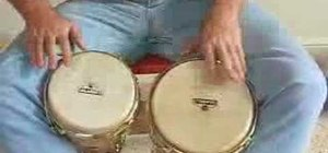 Play an afro beat on bongos