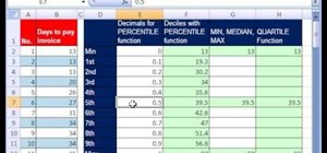 Use the PERCENTILE & QUARTILE functions in MS Excel