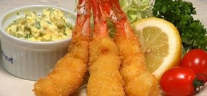 Make an ebi fry (breaded, fried prawns)