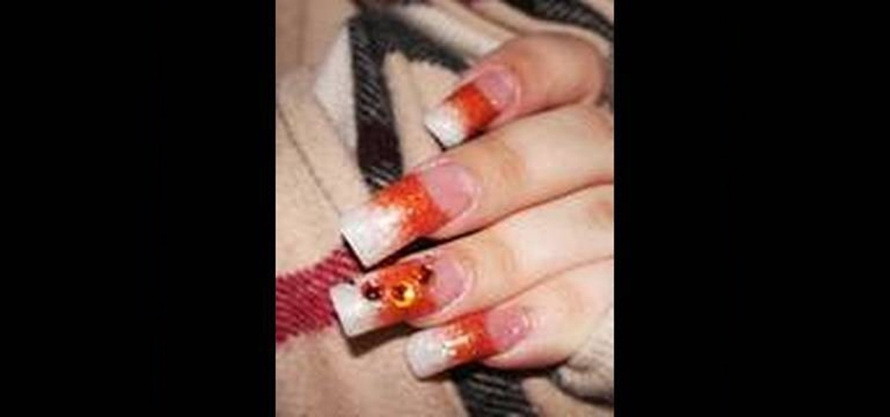 Create Orange Pearl Glitter Acrylic Nails