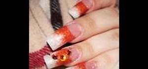 Create orange & pearl glitter acrylic nails