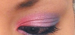 Create a dramatic pink and blue eyeshadow look