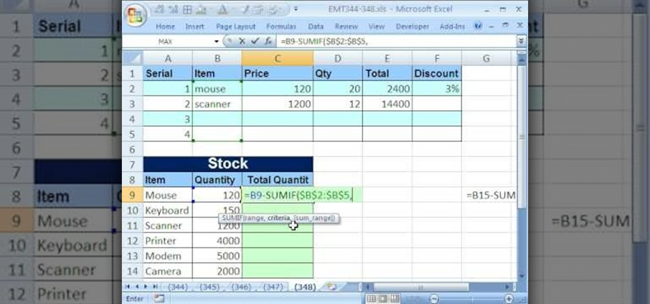 how to update inventory records by formula in microsoft excel microsoft office wonderhowto. Black Bedroom Furniture Sets. Home Design Ideas