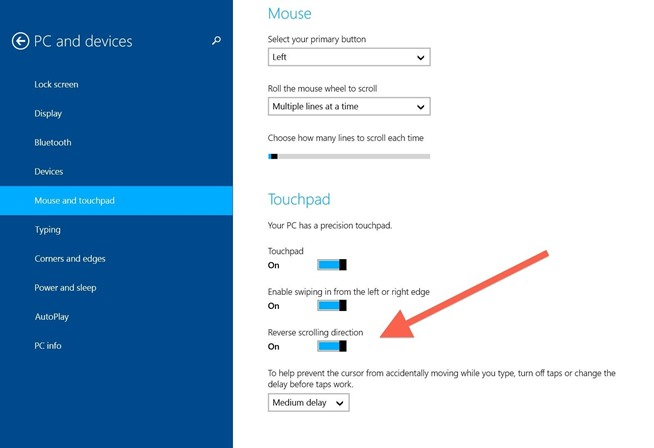 touchpad in windows 10