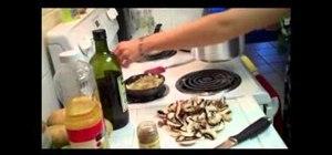 Cook vegan potato mushroom blintzes