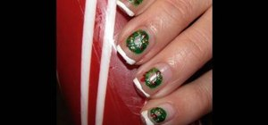 Create holiday red, green, and gold wreath nails