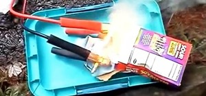 How to Start a Fire Using a Pencil, Jumper Cables, & Car Battery