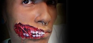 Create an exposed teeth makeup look for Halloween