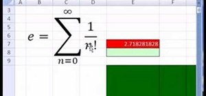 Use the number e in a Microsoft Excel spreadsheet