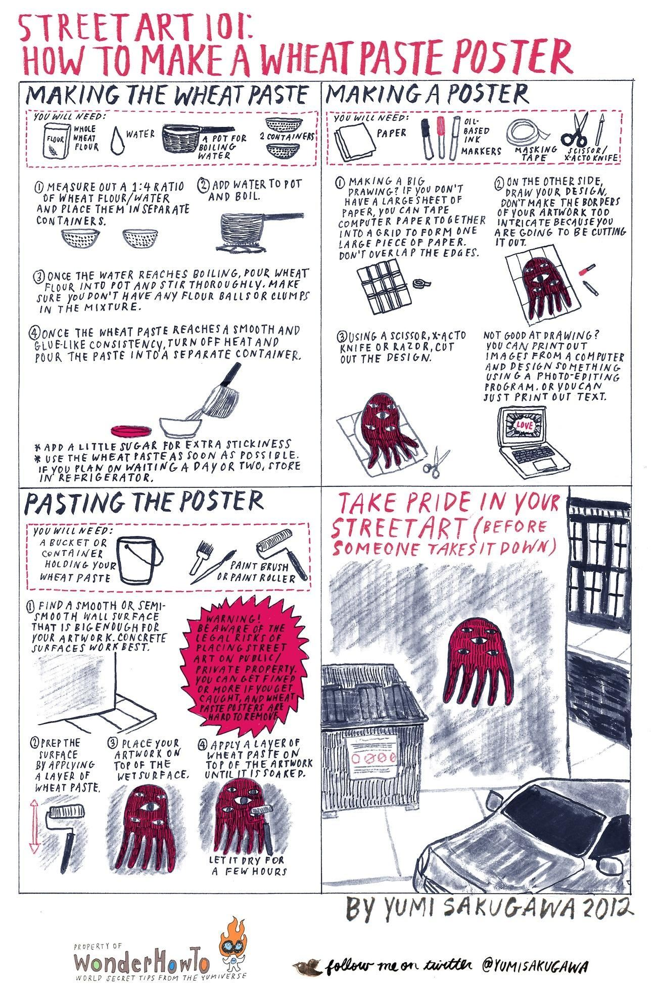 Street art 101 how to make a wheatpaste poster the for How to make creative drawings