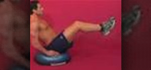 Exercise with double crunches on bosu w/ arms at side