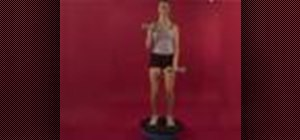 Exercise with dumbbell bicep curl on bosu