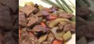 Cook Laotian kaow seing beef steak stir fry with Kai
