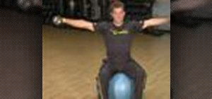 Do weighted shoulder exercises using a stability ball