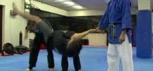 Do a choke hold and wrist grabs combo for self-defense