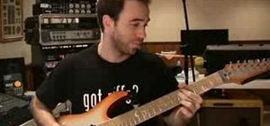 Play a simple melodic riff on electric guitar