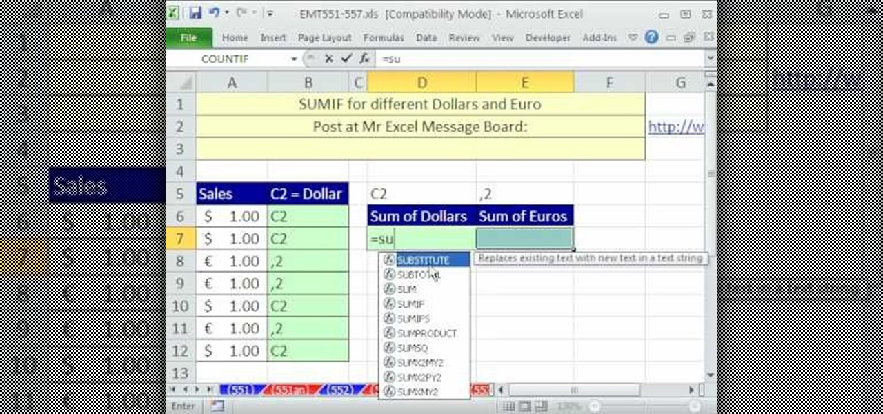 How To Sum Dollar Amounts From A Column In Micrsoft Excel