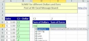 Sum dollar amounts from a column in Micrsoft Excel