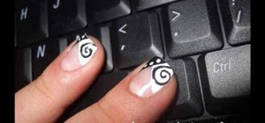 Create black & white swirly spotted nail art