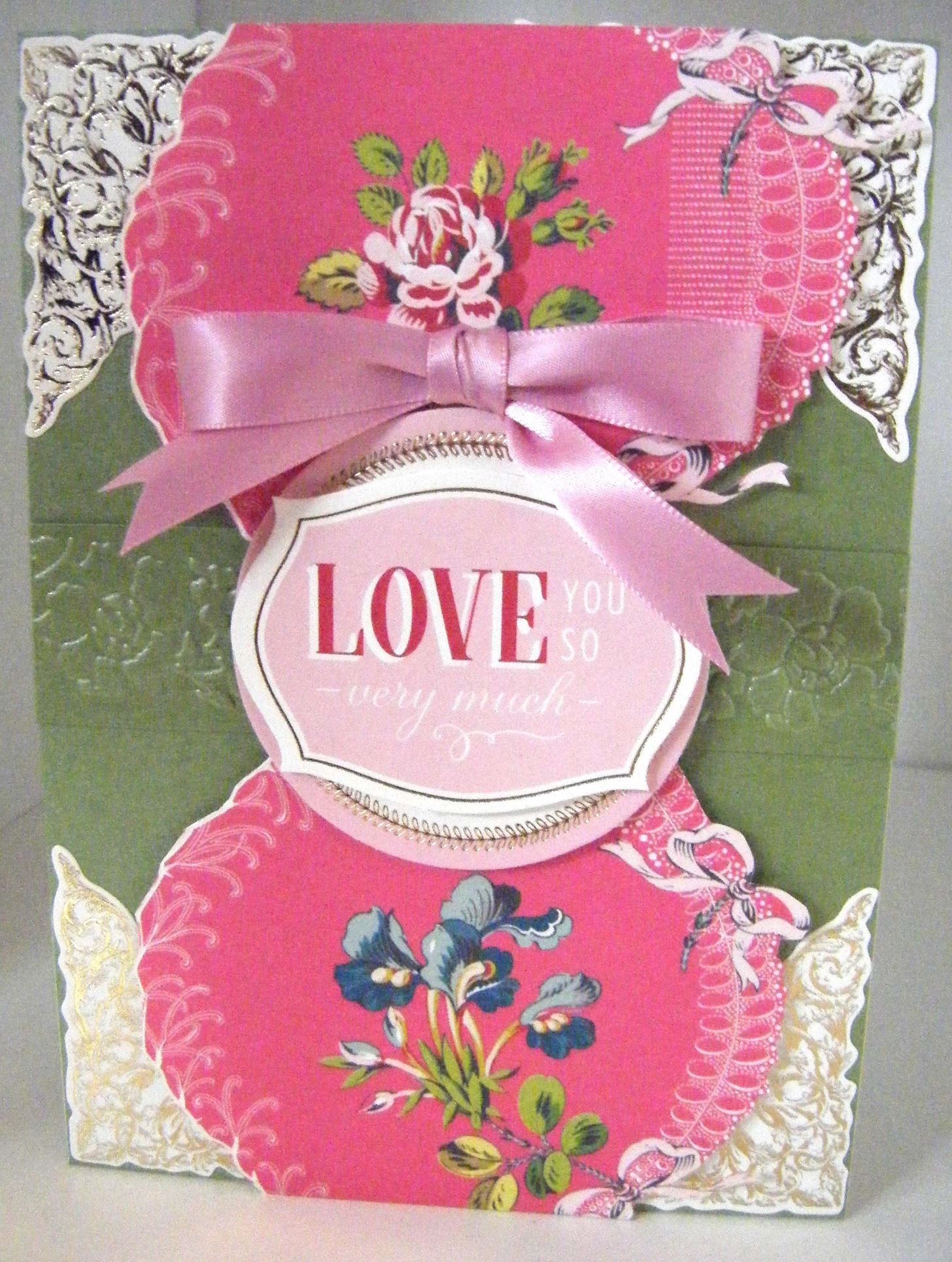 How to Make Pretty Pink Embossed Love Card