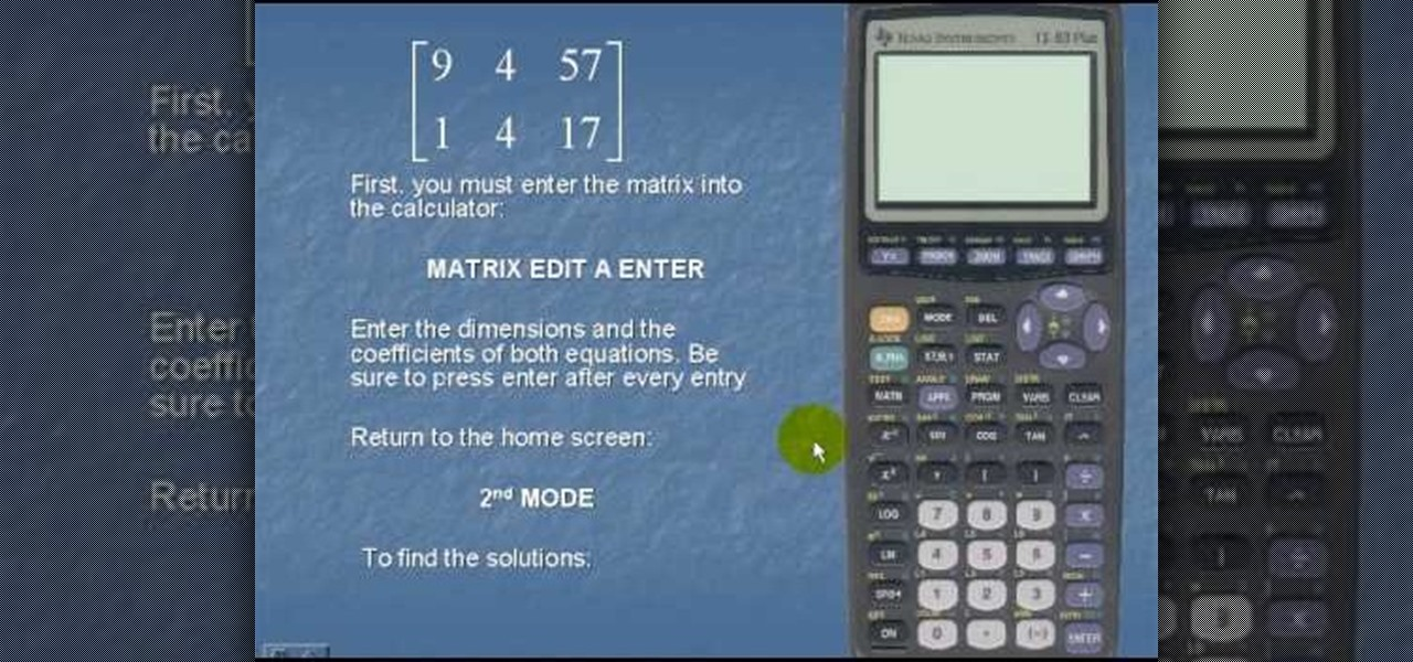How to Solve a set of linear equations with the TI-83 « Math ...