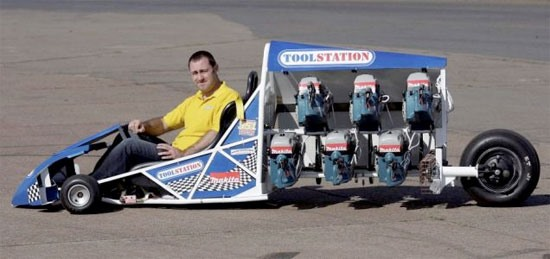 DIY Freak Builds Mini Dragster Powered By 6 Circular Saws