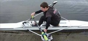 Get into a single scull rowing craft unassisted