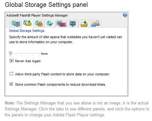 How to amend Adobe Flash Settings