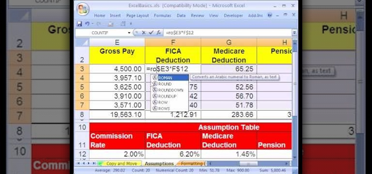 how to use the roundup function in excel