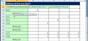 Return the address of the 1st non-blank cell in Excel