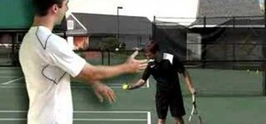 Practice the knee bend in a tennis serve