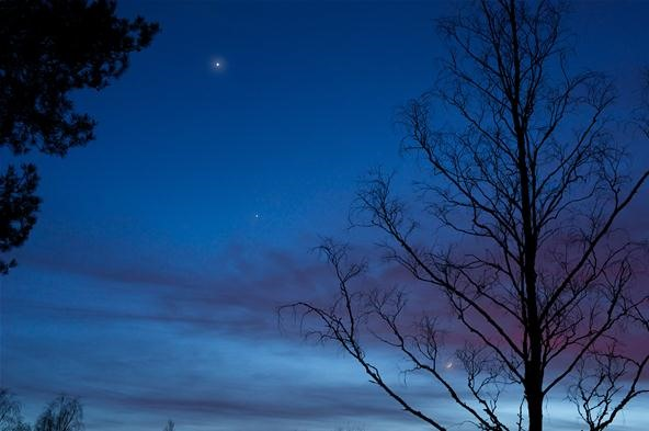 Jupiter, Saturn and Moon conjunction