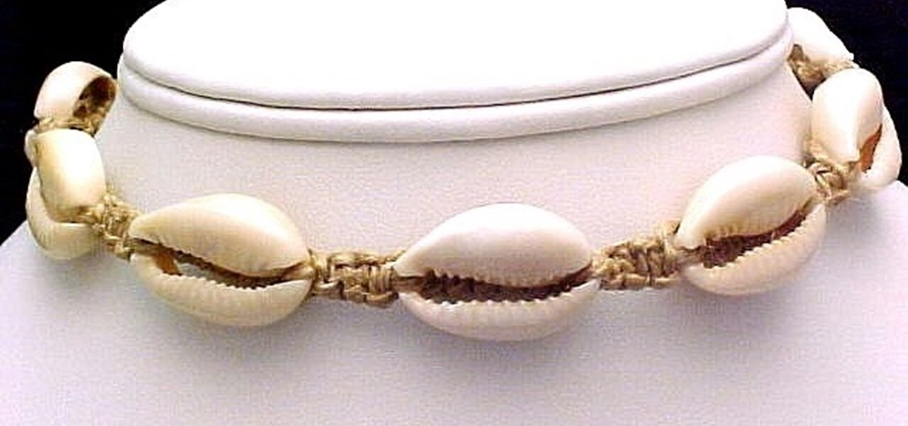 Add a Cowrie Shell onto Hemp Macrame Jewelry