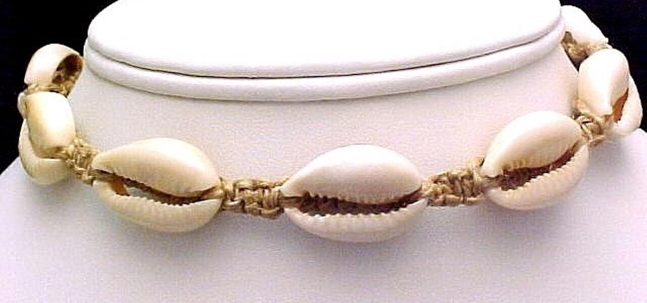Add a Cowrie Shell onto Hemp Macrame Jewelry