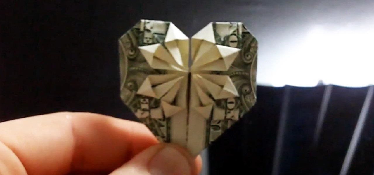 Dollar Bill Origami Heart with Flower | FaVe Mom | 600x1280