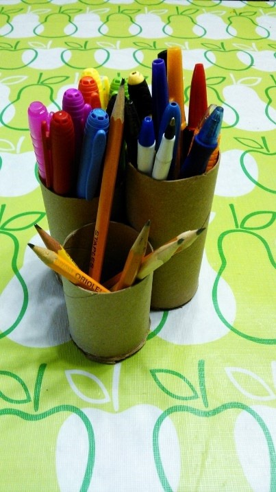 Pencil Holder from Paper Towel Rolls