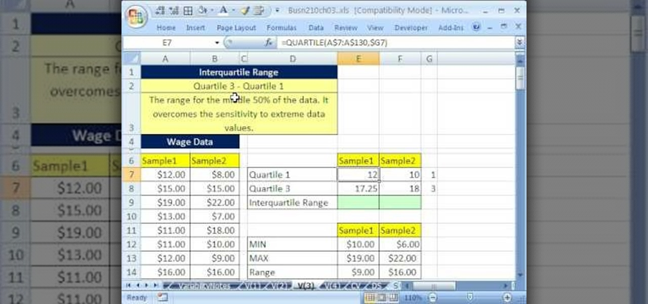 how to add interquartile range to xcel graphs