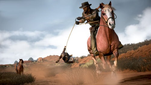 Horse Dragging in Red Dead