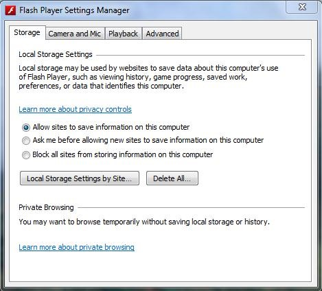 How to amend Adobe Flash Settings